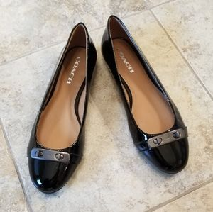 Coach Shoes - NWT COACH REAL PATENT LEATHER BLACK BALLET FLATS